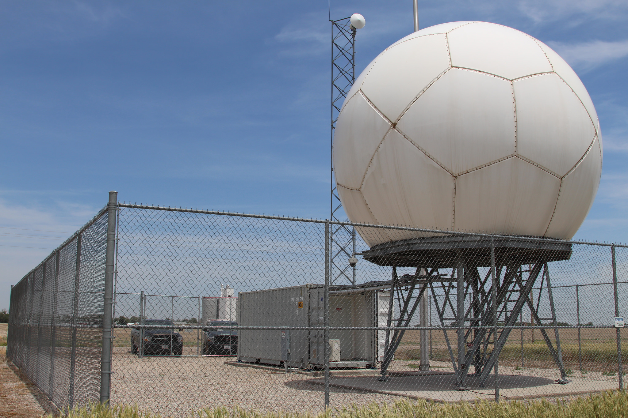 One of three X-band scanning precipitation radars at ARM's Southern Great plains site funded through the American Recovery and Reinvestment Act. They provide measurements that identify precipitation type, estimate rainfall rates, and estimate the velocity of wind fields.