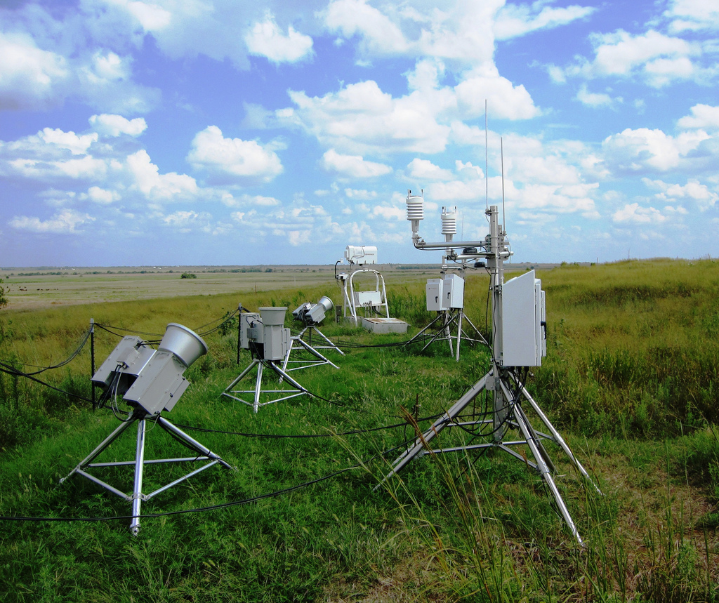 Three scanning microwave radiometers (left) undergo testing in the instrument field at the Southern Great Plains site's Central Facility before becoming part of the ARM suite of instrumentation.