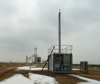 In just a few days, AOS scientists from Brookhaven, AMF2 operations personnel, and SGP site technicians unpacked and installed the AMF2 AOS (foreground).  On February 14, it began collecting data next to the SGP system (background). Not your typical Valentine's Day treat, but still pretty sweet.