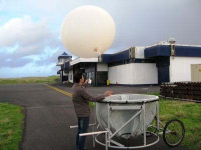 AMF1 Azores on-site staff Francisco Bettencourt releases the last balloon of the 20-month operation on Graciosa Island.