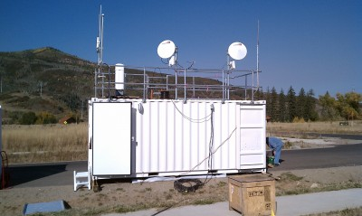 Two of three valley to mountain communications antennas on the GP van.
