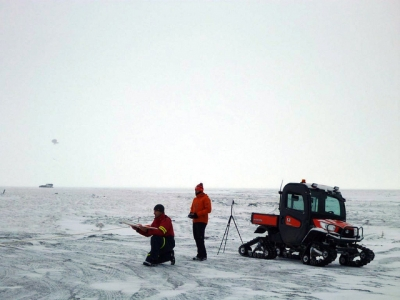 The DataHawk, an Unmanned Aerial System, being launched in the Arctic.