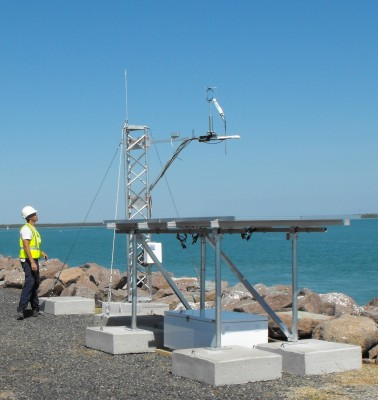 As shown in this photo at the wharf in Darwin, Australia, the new ECOR/SEBS station includes solar panels for power.