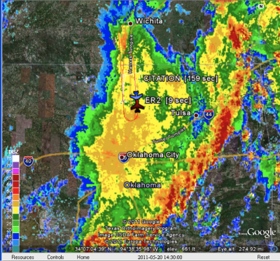 Screenshot from the Real-Time Mission Monitor showing the ER-2 and UND Citation flying stacked N-S legs over the SGP Central Facility in the stratiform rain region of a Mesoscale Convective System.