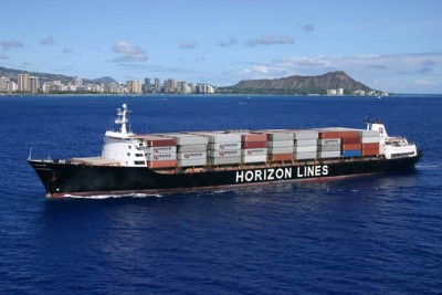 The C-9 class ship Horizon Spirit is a 268-meter (880-foot) steam powered container ship that makes the Los Angeles to Hawaii run as part of the Horizon Lines fleet. It is an American made ship built in the late 1980s.