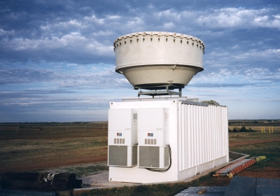 The millimeter wavelength cloud radar was a key instrument included at all the sites. It is pictured here at the Southern Great Plains in 2002.