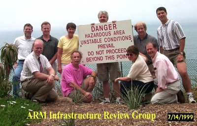 Raymond McCord (back row, second from right) and others gather on a coastal cliff at Scripps Institute in July 1999.