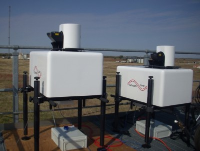 Two of the three new Doppler lidars are shown here during testing at the Southern Great Plains site in October.