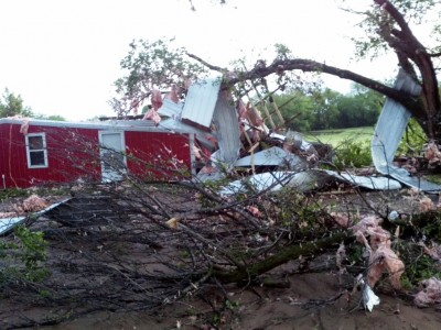 Property of several SGP site personnel took a hit during the April 30 tornado. Site operations manager John Schatz shared this photo of damage to and around his barn.