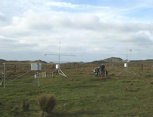 Members of the AMF1 installation team prepare the instrument field at the deployment site at Point Reyes National Seashore.