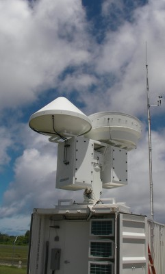 Deployed in pairs, the new scanning cloud radars share a common pedestal and can scan 180 degrees in every direction. To see the radars in motion, view <a href='http://www.youtube.com/watch?v=137V1cczMt4\'>this video</a>.