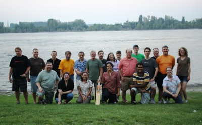 After a full day discussing all things data related, participants at the ARM Developers Meeting relaxed on the shores of the Columbia River with a low-key game of cricket.