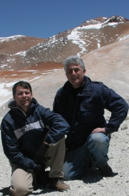 Dave Turner (left) and Eli Mlawer, co-principal investigators for RHUBC-II, on Cerro Toco (Toco Mountain).