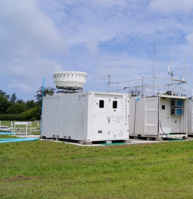 The Ka-band ARM zenith pointing radar (KAZR), shown here on Gan Island, is one of the radars that will be deployed for the MAGIC field campaign.