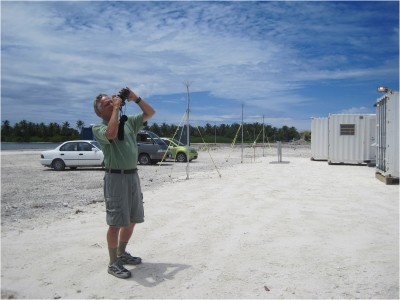 University of Washington professor Bob Houze takes pictures of clouds at the SPol site.