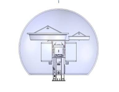 This schematic shows the Ka- and W-band radars on a single pedestal.