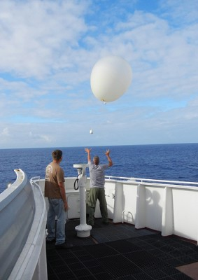 AMF2 Technical Operations Manager Mike Ritsche releases a weather balloon under optimal conditions from the 'Spirit.'
