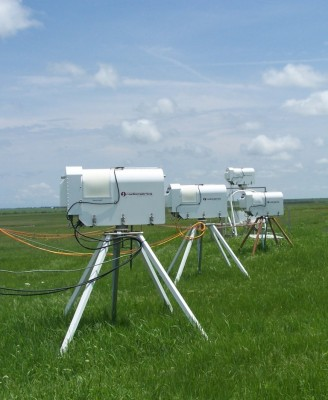 For one month, three of these microwave radiometers at the SGP site, along with two more from the University of Colorado, will be arranged in series to continuously scan clouds passing overhead.