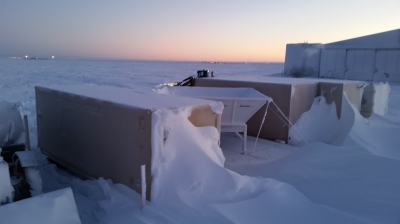 The challenging environment at Oliktok Point made itself known in December 2014 with snow drifts reaching the tops of the AMF3 shelters.