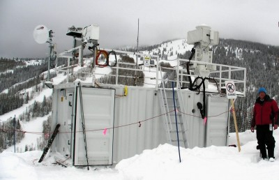 Just outside Thunderhead Lodge in the Steamboat Springs ski area, one of the ARM Mobile Facility sites hosts a scanning cloud radar and several other instruments.