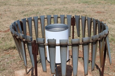 The weighing bucket rain gauge at the Southern Great Plains facility.
