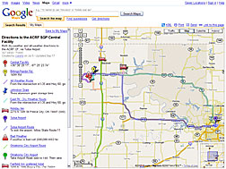 View a custom Google map with driving directions to the SGP Central Facility.