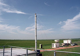 As an example of the ACRF capability, SGP technicians installed this temporary 10-meter aerosol sampling stack in support of the [http://www.db.arm.gov/cgi-bin/IOP/selectExecSummary.pl?iopName=sgp2003aerosol&person_id=][2003 Aerosol IOP].