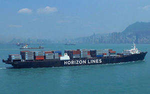 The C-9 class ship Horizon Spirit is a 268-meter (880-foot) steam-powered container ship that makes the Los Angeles-to-Hawaii run as part of the Horizon Lines fleet.