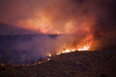 A wildfire burns sagebrush on the Colville Indian Reservation, Washington.