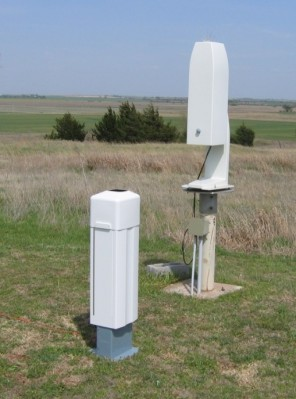 After a 3-day period of side-by-side operations and acceptance testing, the new CL31 ceilometer (foreground) officially replaced the older CT25K model on April 16, 2010 at the SGP site.