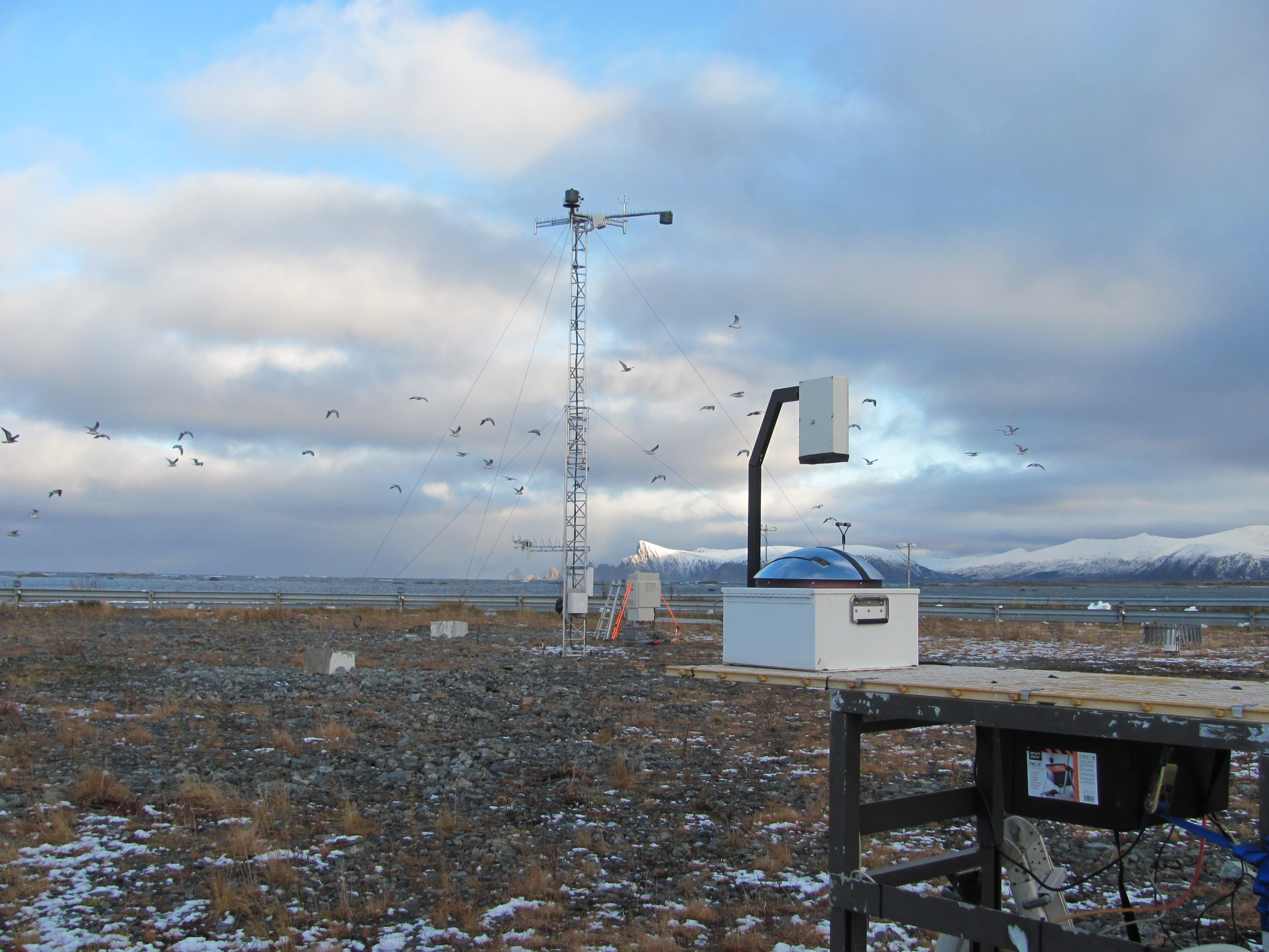 Total sky imager set up for COMBLE field campaign in Norway