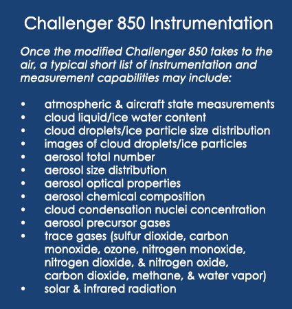 Instrumentation and measurement capabilities that might appear on the ARM Bombardier Challenger 850 research aircraft