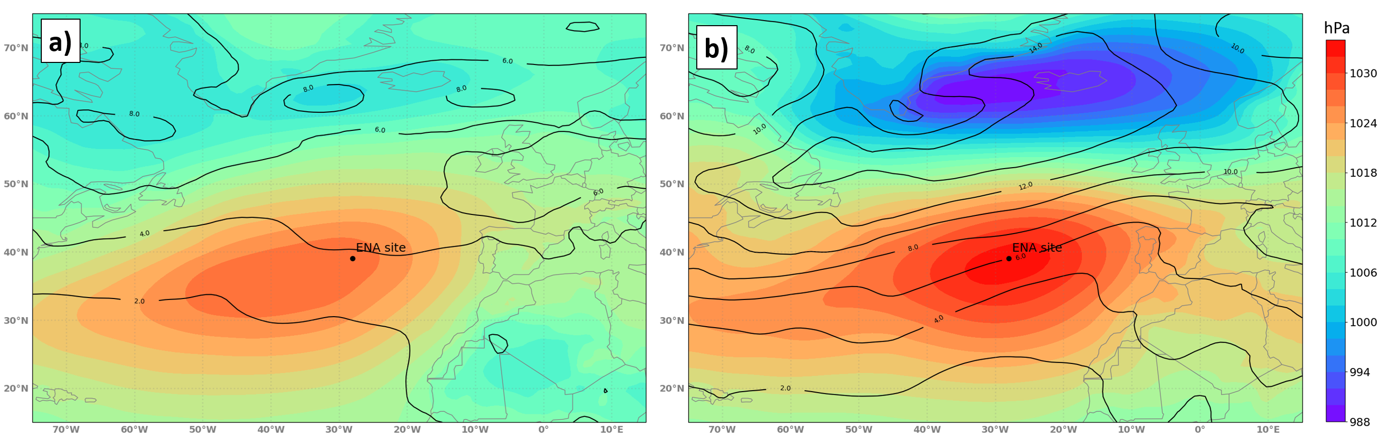 Average mean sea level pressure (MSLP) and standard deviation of MSLP across ACE-ENA