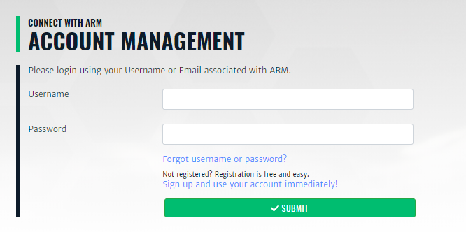 ARM's Account Management page