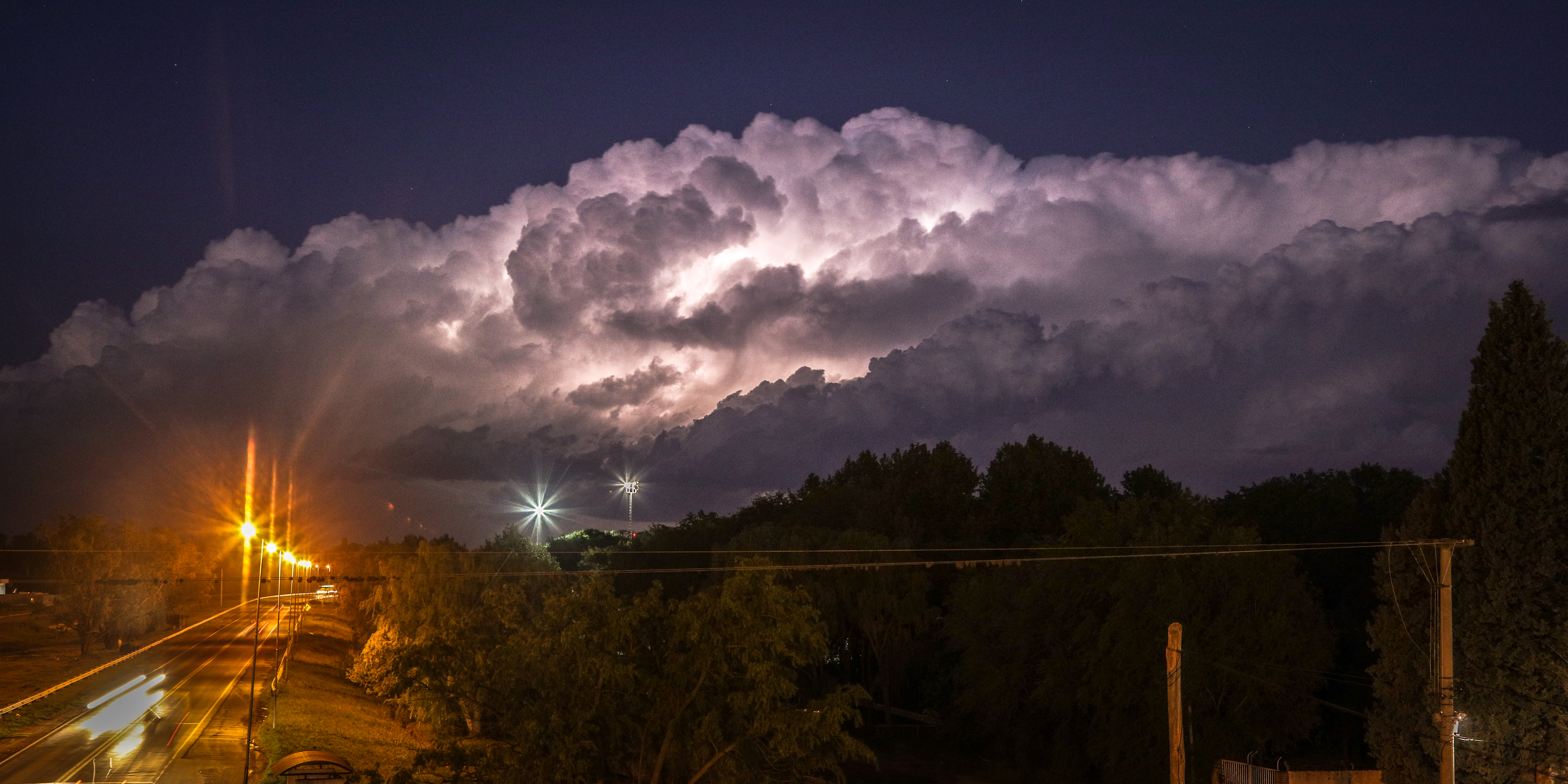 Deep convective clouds at night in Argentina