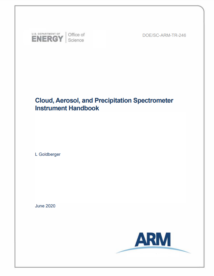 Cover of cloud, aerosol, and precipitation spectrometer instrument handbook