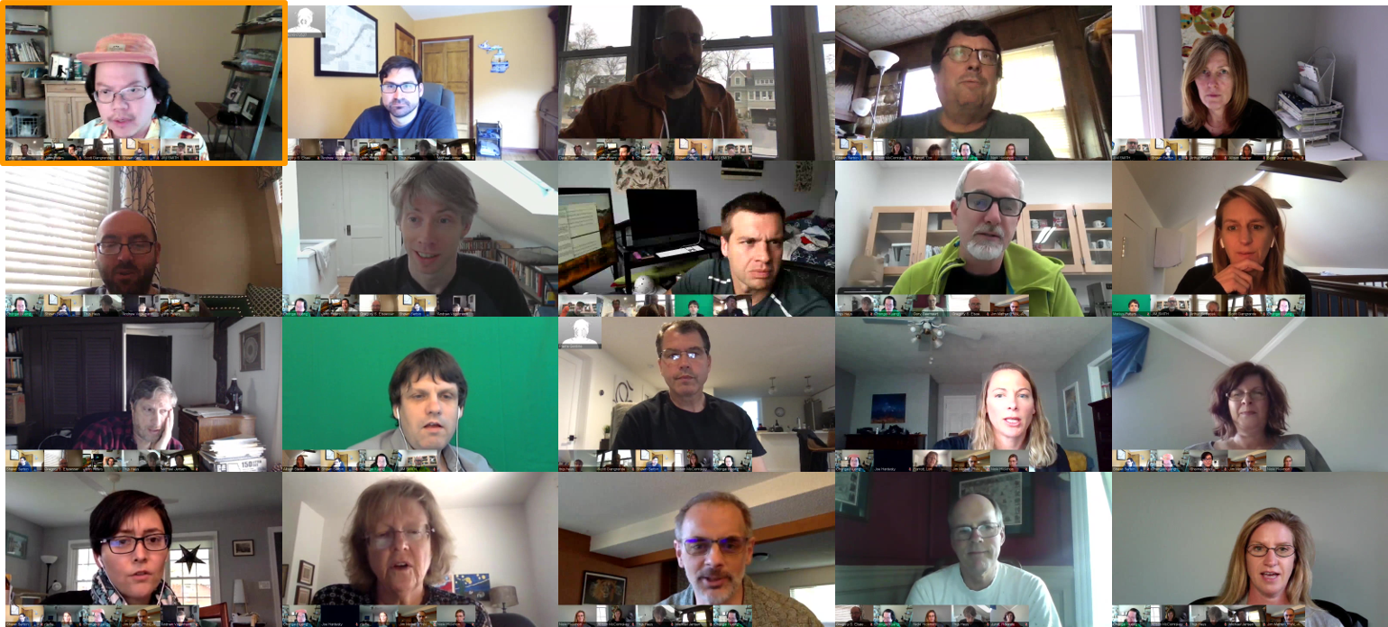 A patchwork of participants from the AMF3 kickoff meeting.