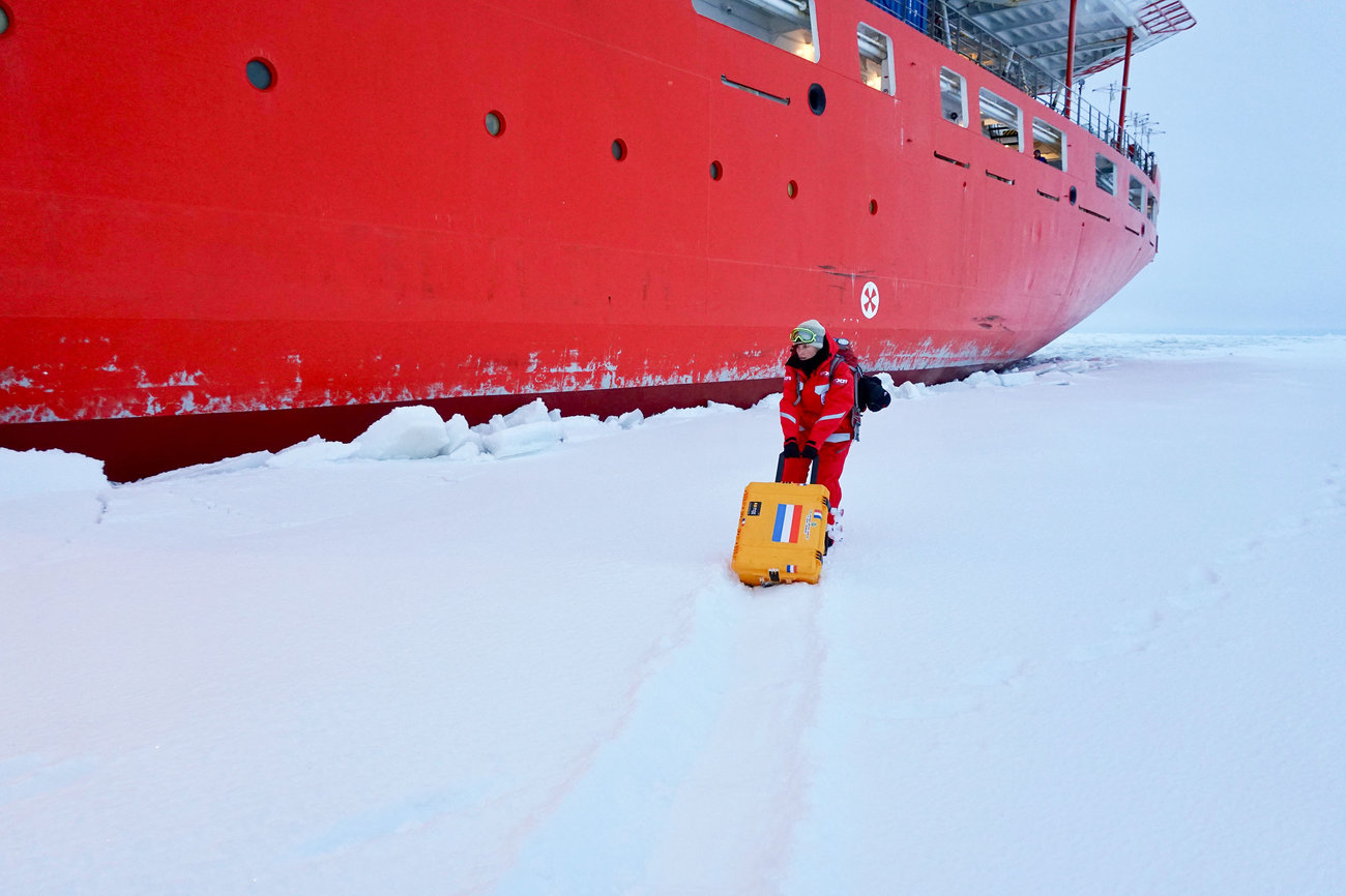 Jessie Creamean on the frozen Arctic Ocean during the MOSAiC expedition